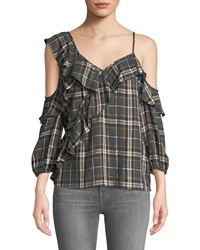Bailey 44 Cross Country Plaid Ruffle Cold Shoulder Top Gray