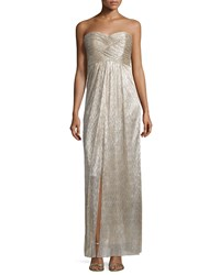 Laundry By Shelli Segal Strapless Sweetheart Neck Metallic Gown Silver Women's