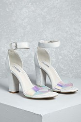 Forever 21 Faux Suede Iridescent Heels Grey