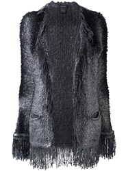 Avant Toi Fringed Open Cardigan Grey