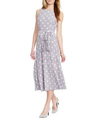 Lauren Ralph Lauren Petite Polka Dot Jersey Dress Slate Colonial Cream