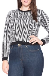 Plus Size Women's Eloquii Contrast Trim Print Crop Sweater Black And White Chevron