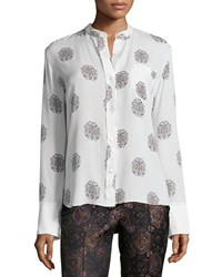 A.L.C. Julie Printed Button Down Shirt White Black Pink