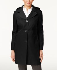 Anne Klein Hooded A Line Trench Coat Black