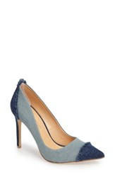 Women's By Zendaya Shelby Fringe Denim Pump Dark Blue Light Blue