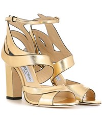 Jimmy Choo Falcon 100 Leather Sandals Gold