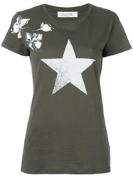 Valentino Floral And Star Print T Shirt Green
