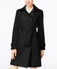 Calvin Klein Petite Double Breasted Belted Trench Coat Only At Macy's Black