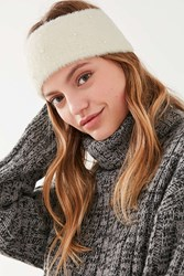 Urban Outfitters Fuzzy Knit Pearl Headband Ivory