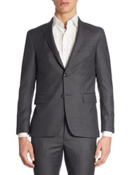 Officine Generale Flannel Wool Blazer Dark Grey