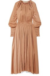 Ulla Johnson Adonia Smocked Smocked Sateen Maxi Dress Beige
