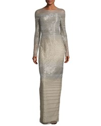 Pamella Roland Striped Degrade Illusion Gown Silver