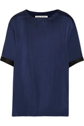Acne Studios Milda Silk Satin Top Storm Blue