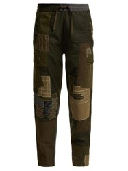 Maharishi Maha Boro Panelled Wool Trousers Dark Green