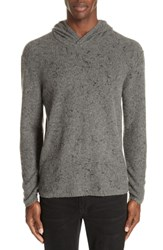John Varvatos Collection Wool Cashmere Hooded Sweater 086 Smoke Heather