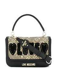 Love Moschino Embroidered Shoulder Bag Black