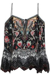 Camilla Woman Haute Provincial Cold Shoulder Printed Silk Crepe De Chine Blouse Black