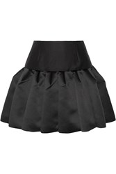 Co Pleated Bonded Satin And Twill Mini Skirt Black