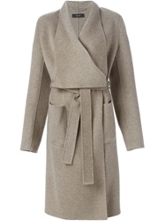 Joseph Long Belted Wrap Coat Nude And Neutrals