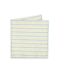 Hook Albert Striped Cotton Pocket Square Green Blue
