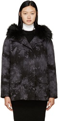 Army By Yves Salomon Black And Grey Tie Dye Fur Lined Parka