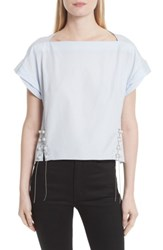 3.1 Phillip Lim Women's Faux Pearl And Chain Lacing Cotton Top Oxford Blue