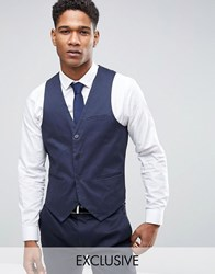 Only And Sons Super Skinny Waistcoat In Cotton Sateen Navy