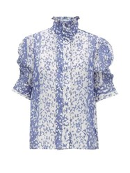 Thierry Colson Vita Ruffle Neck Cotton Blend Blouse Blue
