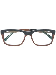 Gold And Wood Square Frame Glasses Multicolour