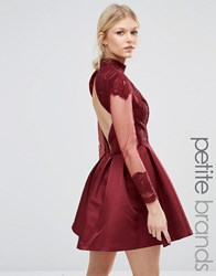 Chi Chi Petite London High Neck Sateen Mini Dress With Dipped Hem Wine Red