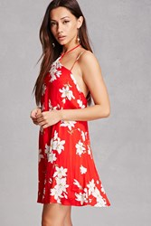 Forever 21 Floral Cami Mini Dress Red