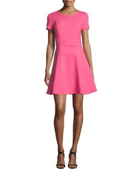 Halston Short Sleeve Fit And Flare Dress Hot Pink