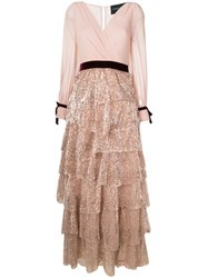 Christian Pellizzari Sequin Tiered Dress Polyester Pink Purple