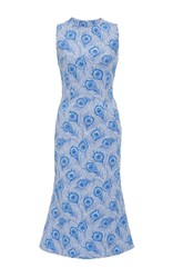 Christina Economou Peacock Midi Sheath Dress Print