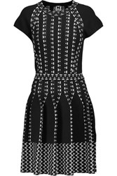 M Missoni Flared Paneled Jacquard And Stretch Knit Mini Dress Black