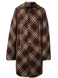 Raf Simons Plaid Single Breasted Coat Pink And Purple