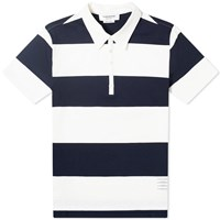 Thom Browne Rugby Stripe Short Sleeve Polo Blue