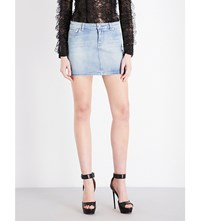 Givenchy Star Motif Stretch Denim Mini Skirt Blue