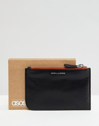 Asos Design Leather Zip Top Wallet In Black With Contrast Orange Trim