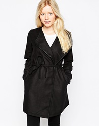 Brave Soul Belted Coat With Pu Trim Black