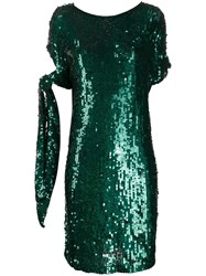 P.A.R.O.S.H. Sequined Tied Sleeve Dress Green