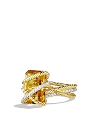 David Yurman Cable Wrap Ring With Champagne Citrine And Diamonds In Gold Yellow Gold