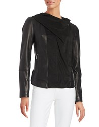 Vince Camuto Draped Suede And Leather Moto Jacket Black