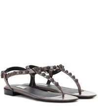 Balenciaga Giant Studded Leather Sandals Grey