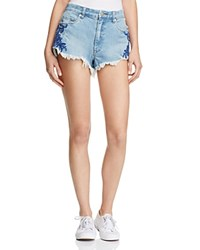 Blank Nyc Blanknyc Embroidered Floral Denim Shorts In Medium Blue Wash 100 Bloomingdale's Exclusive