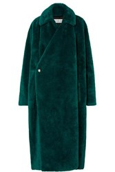 Balenciaga Oversized Faux Fur Coat Dark Green