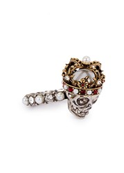 Alexander Mcqueen Swarovski Crystal Embellished King Skull Ring Red