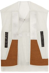 Rick Owens Wool And Denim Paneled Mesh Vest White