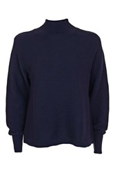 Topshop Petite Cocoon Horiztonal Knitted Jumper Navy Blue