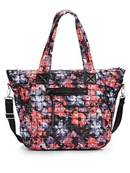 Saks Fifth Avenue Floral Print Quilted Nylon Tote Floral Multi